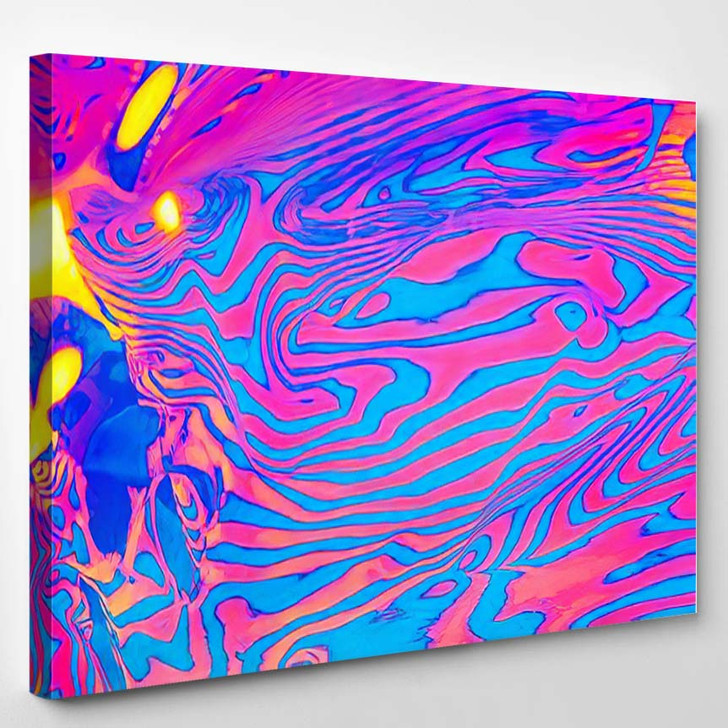 Abstract Trendy Neon Colored Psychedelic Fluorescent 1 - Psychedelic Canvas Art Print