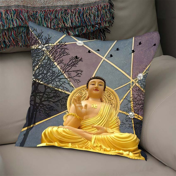 3D Buddha Wallpaper Texture Background Illustration - Buddha Religion Throw Pillow