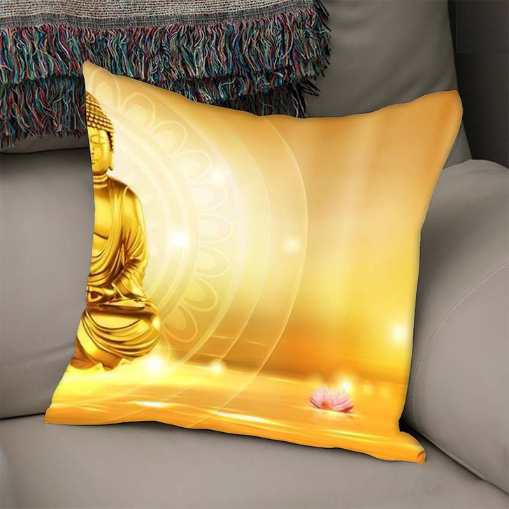 3D Illustration Buddha Meditated Lotus Flowers - Buddha Religion Throw Pillow