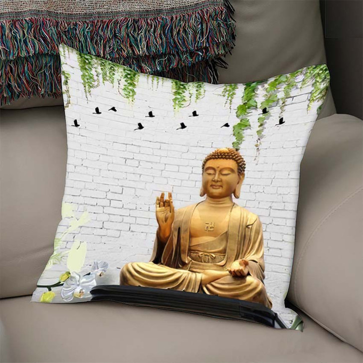 3D Illustration Buddha Wallpaper Beautiful Grass - Buddha Religion Throw Pillow
