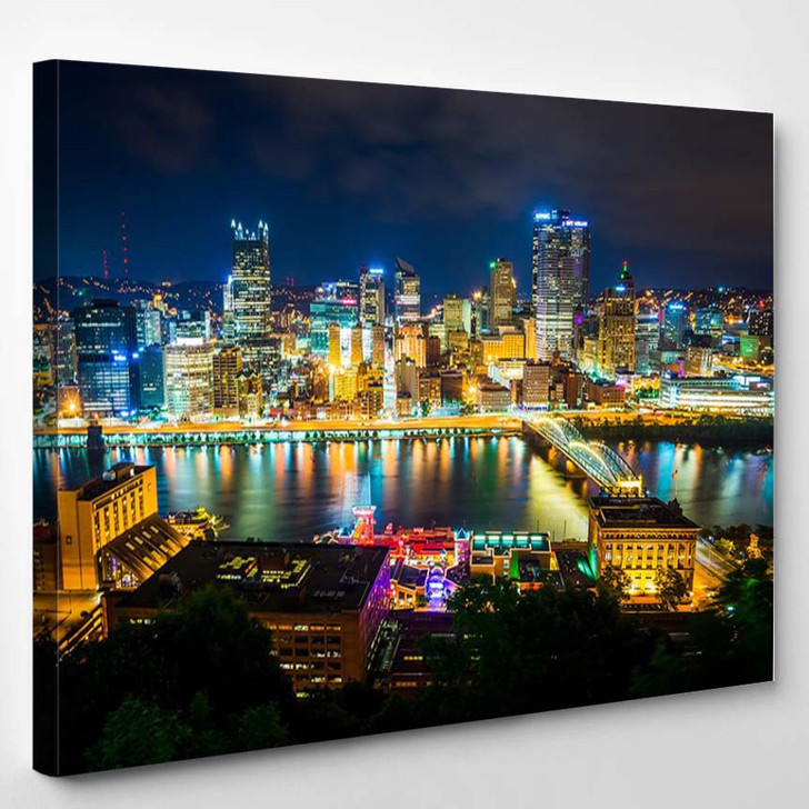 View Of Pittsburgh At Night From Grandview Avenue Pittsburgh Pennsylvania - Landscape Canvas Art Print