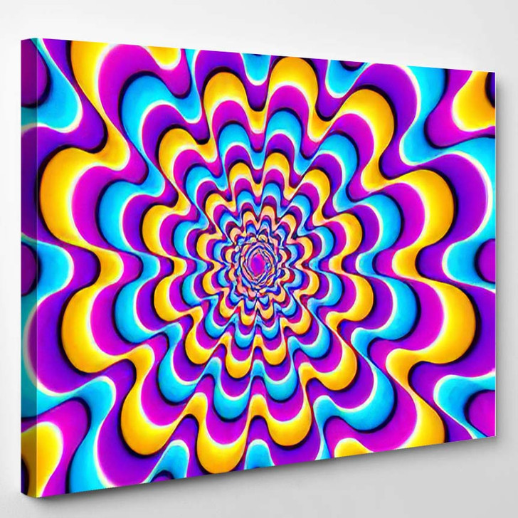 Colorful Spirals Optical Expansion Illusion - Psychedelic Canvas Art Print