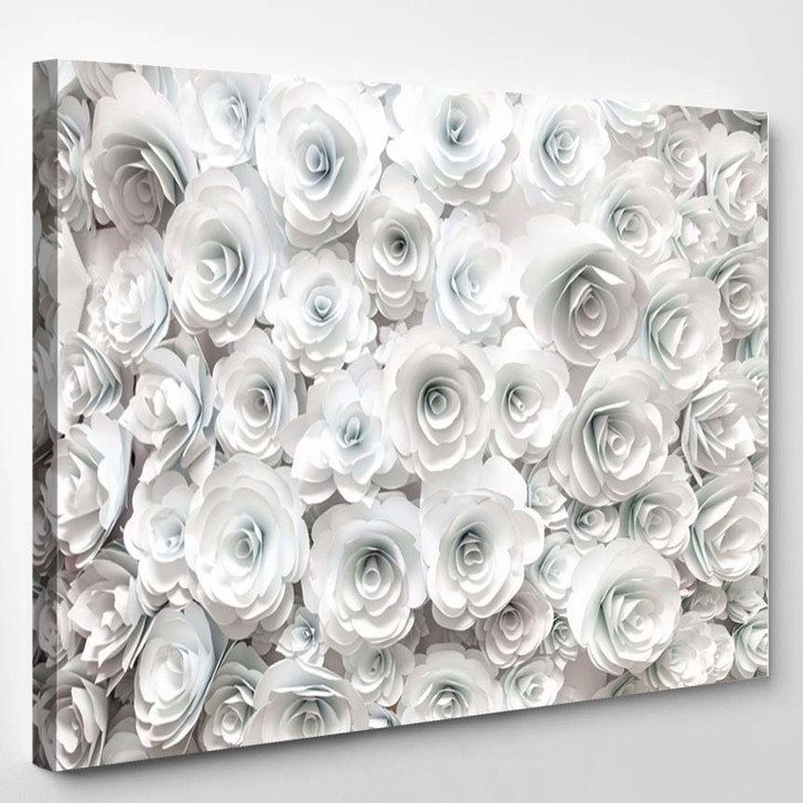 Wall With Paper Flowers - Nature Canvas Art Print