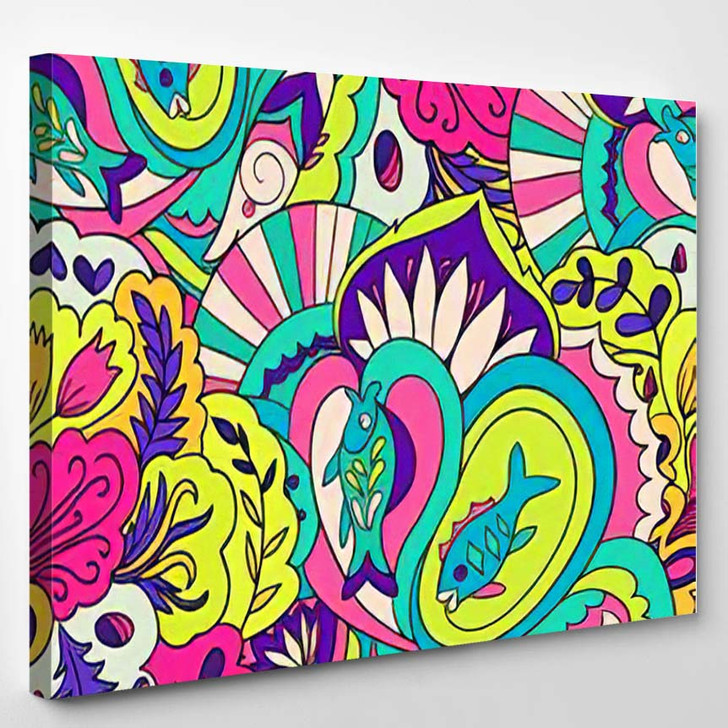 Colorfull Psychedelic Seamless Pattern Underwater Floral - Psychedelic Canvas Art Print