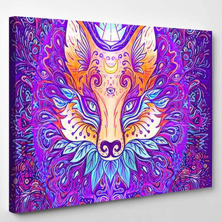 Cute Fox Face Over Psychedelic Ornate 1 - Psychedelic Canvas Art Print