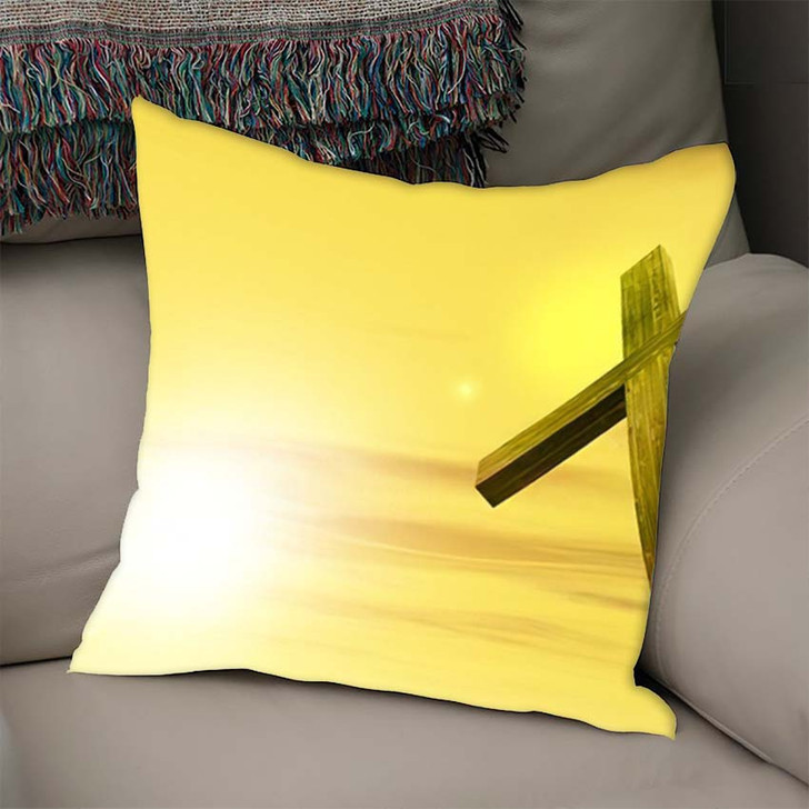 3D Illustration Conceptual Wood Cross Religion - Christian Throw Pillow