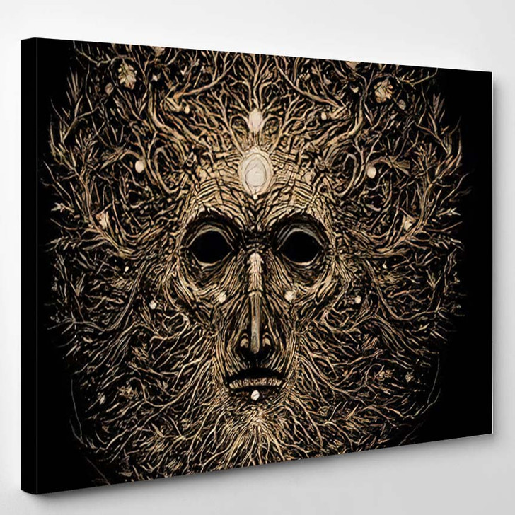 Forest Magic Character Old Tree Roots 4 - Psychedelic Canvas Art Print