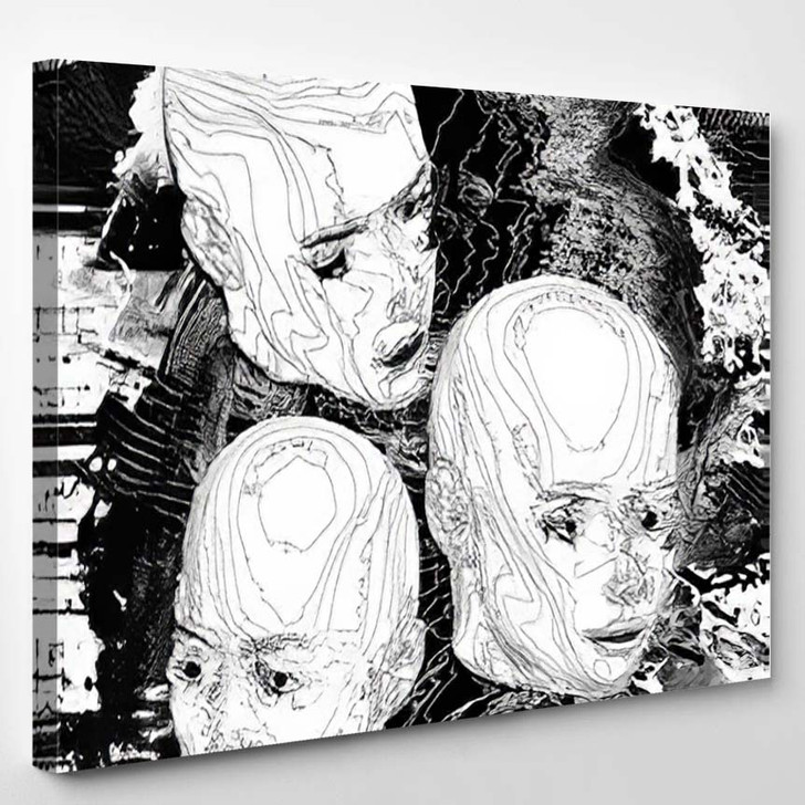 Head Glitched Psychedelic Background - Psychedelic Canvas Art Print
