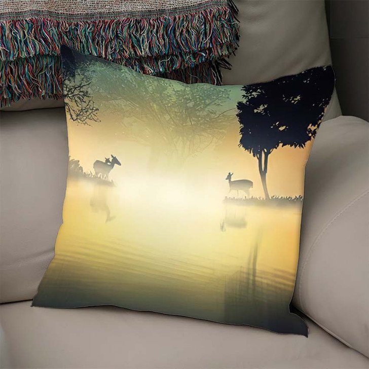 3D Illustration Deers Fantasy Forest Lakeside - Deer Animals Throw Pillow