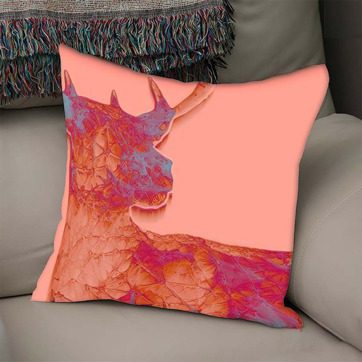 3D Render Abstract Illustration Deer Unusual - Deer Animals Throw Pillow