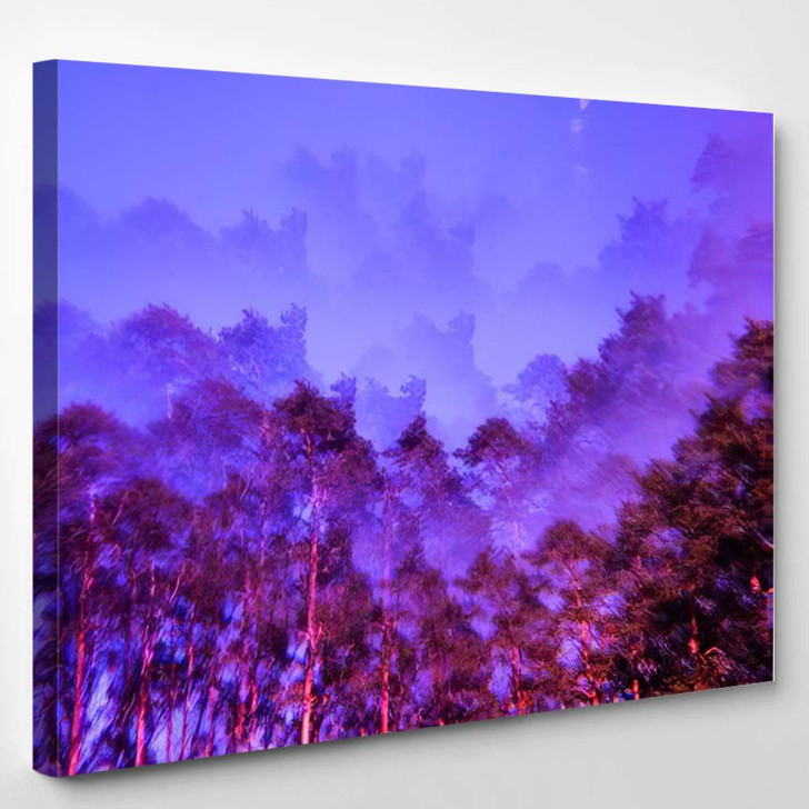 Lomography Magic Landscape Pines Sky Abstract - Psychedelic Canvas Art Print