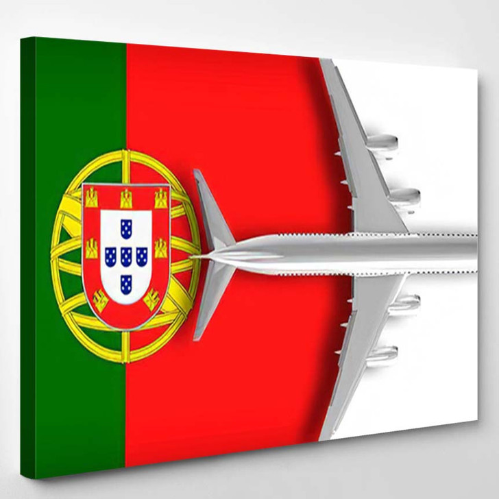 3D Flag Portugal Airplane Flying Over - Airplane Airport Canvas Art Print