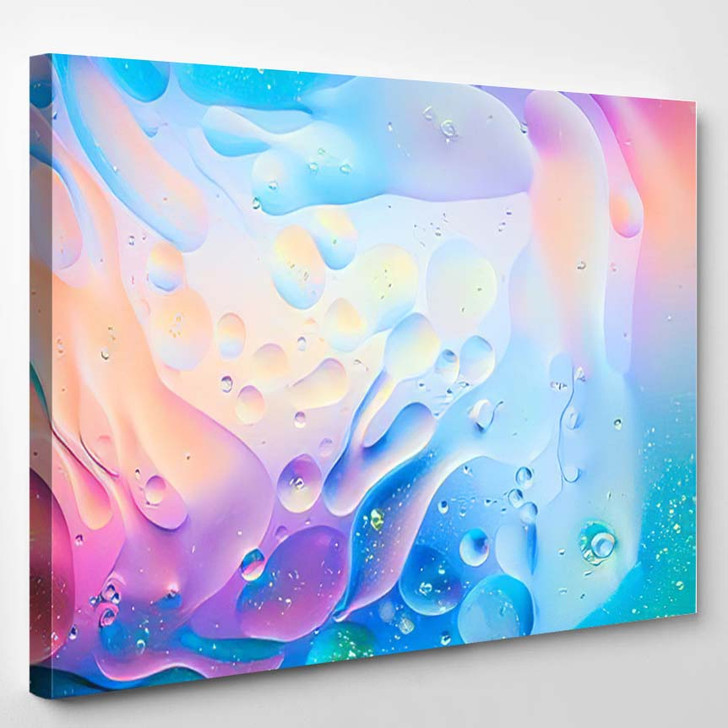 Macro Oil Mixed Water On Colorful 1 - Psychedelic Canvas Art Print