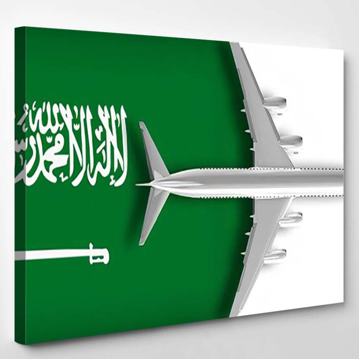 3D Flag Saudi Arabia Airplane Flying - Airplane Airport Canvas Art Print