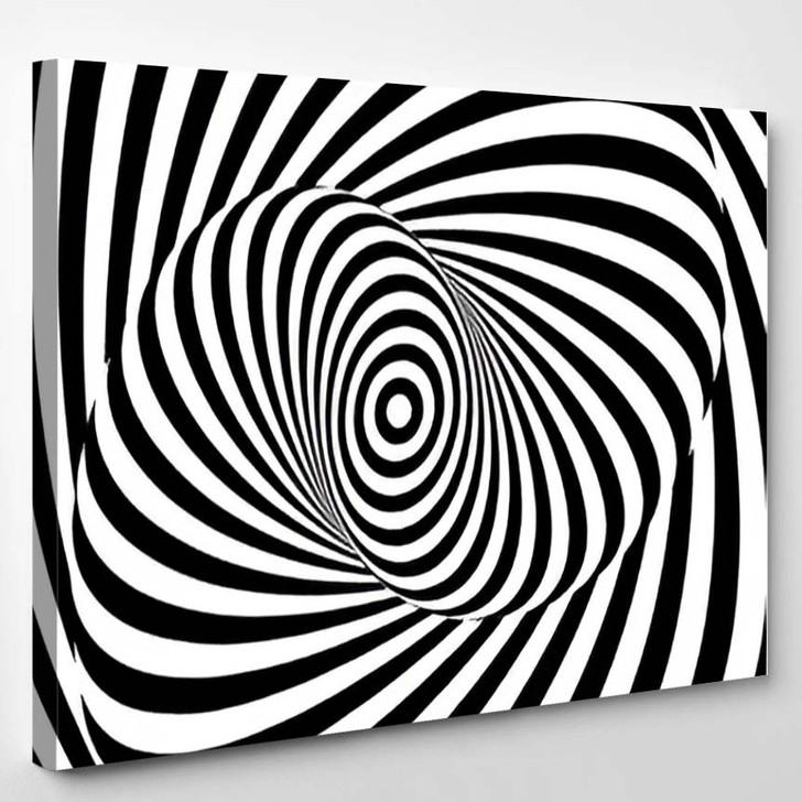 Monochrome Hypnotic Psychedelic Spiral Modern Vector - Psychedelic Canvas Art Print