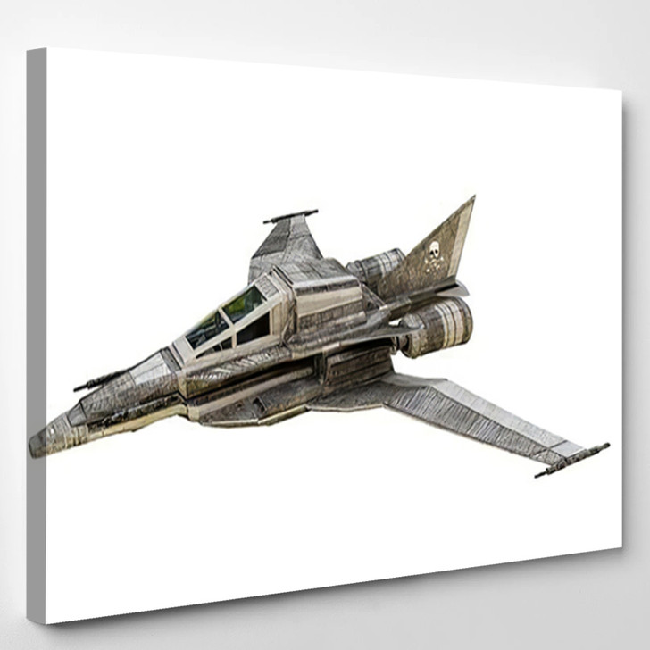 3D Illustration Spaceship Fighter Isolated On - Airplane Airport Canvas Art Print
