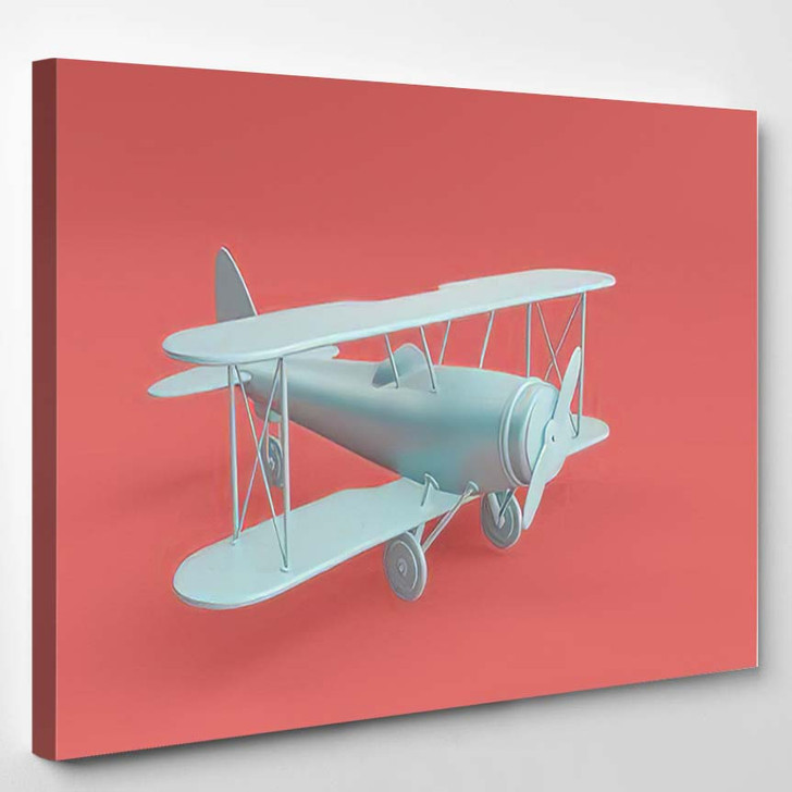 3D Render Illustration Retro Biplane Modern - Airplane Airport Canvas Art Print