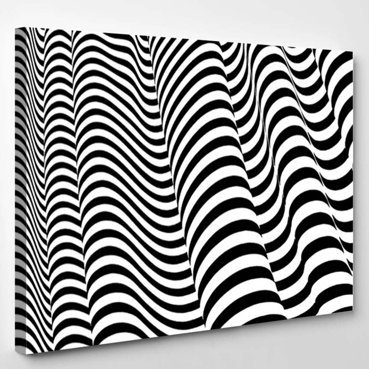 Optical Illusion Lines Background Abstract 3D 1 - Psychedelic Canvas Art Print