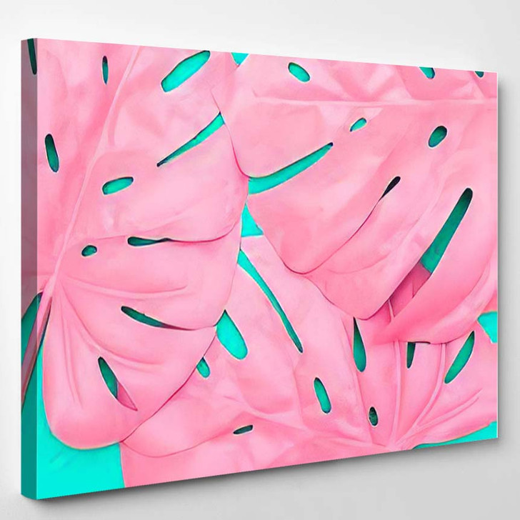 Pattern Pink Tropical Palm Leaves Monstera - Psychedelic Canvas Art Print