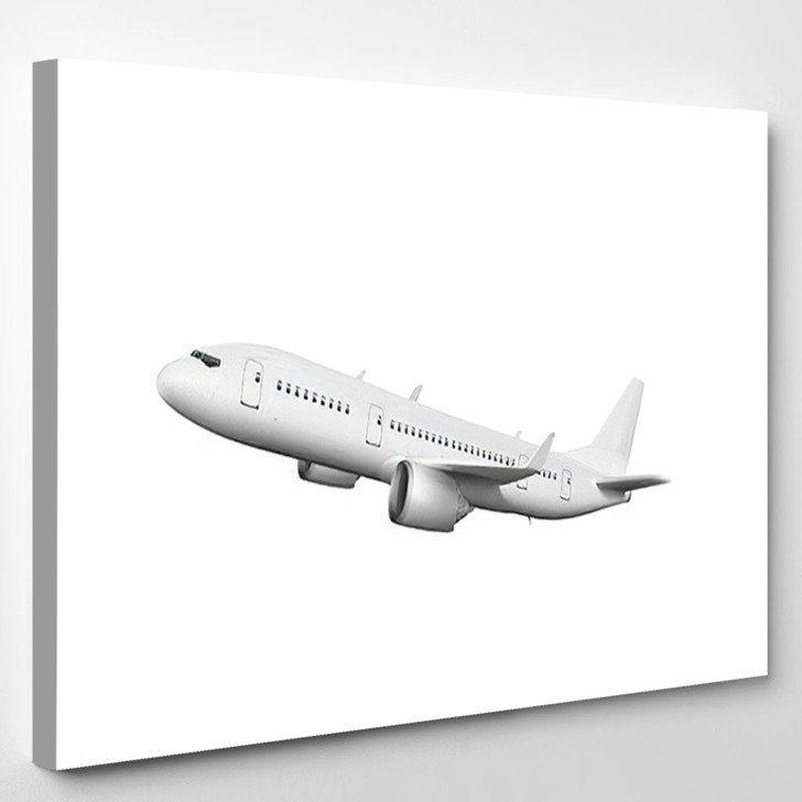 3D White Abstract Airliner Take Off - Airplane Airport Canvas Art Print