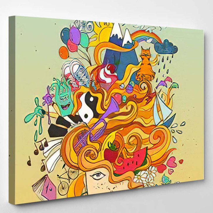 Portrait Young Beautiful Girl Crazy Psychedelic - Psychedelic Canvas Art Print