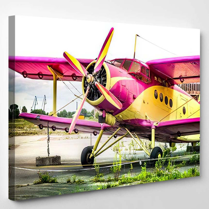 Abstract Old Yellow Pink Purple Plane 1 - Airplane Airport Canvas Art Print