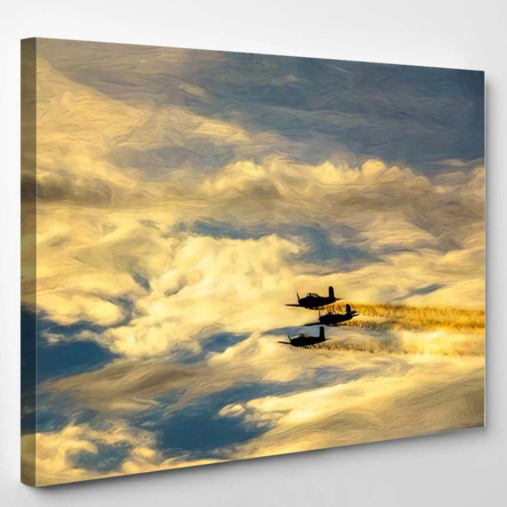 Abstract Three Vintage Singleengine Planes Silhouette - Airplane Airport Canvas Art Print