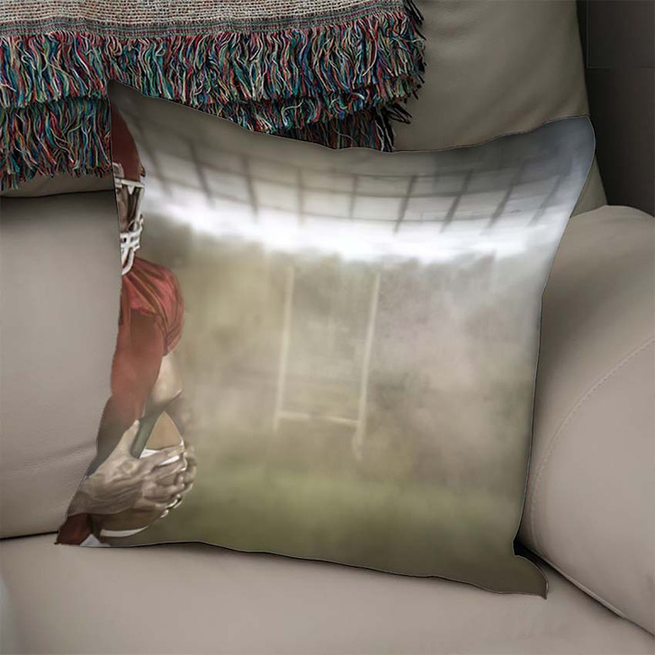 3D American Football Player Holding Ball - Football Throw Pillow