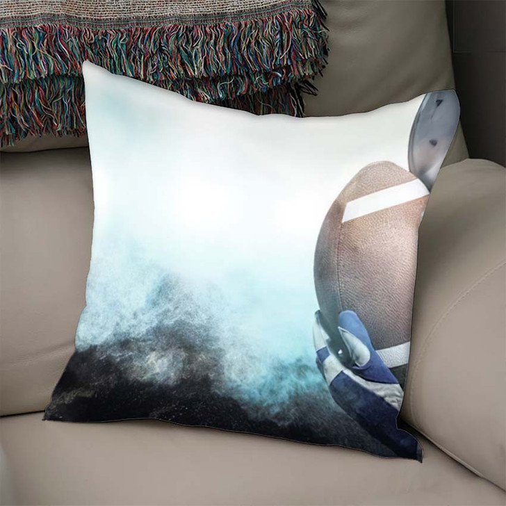 3D Close Upset American Football Player - Football Throw Pillow