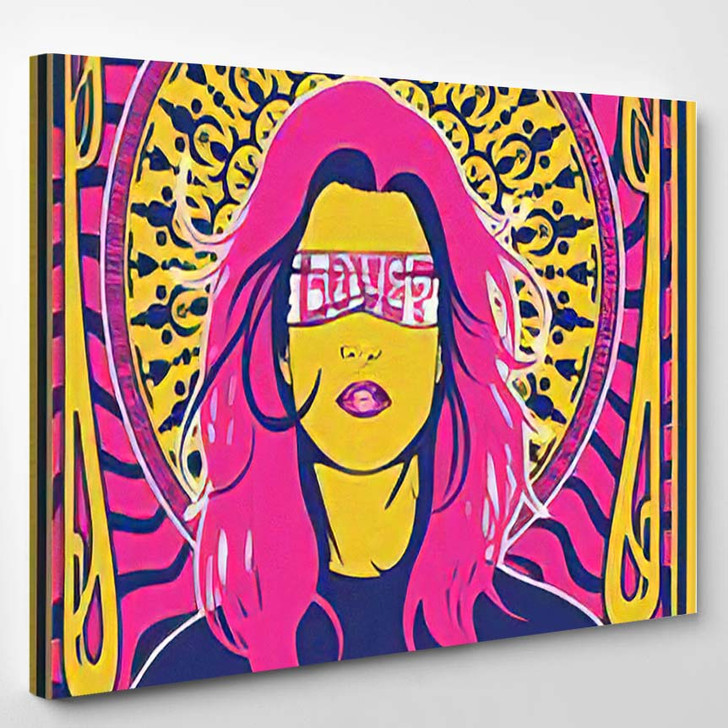 Psychedelic Art Poster Young Woman Decorative - Psychedelic Canvas Art Print