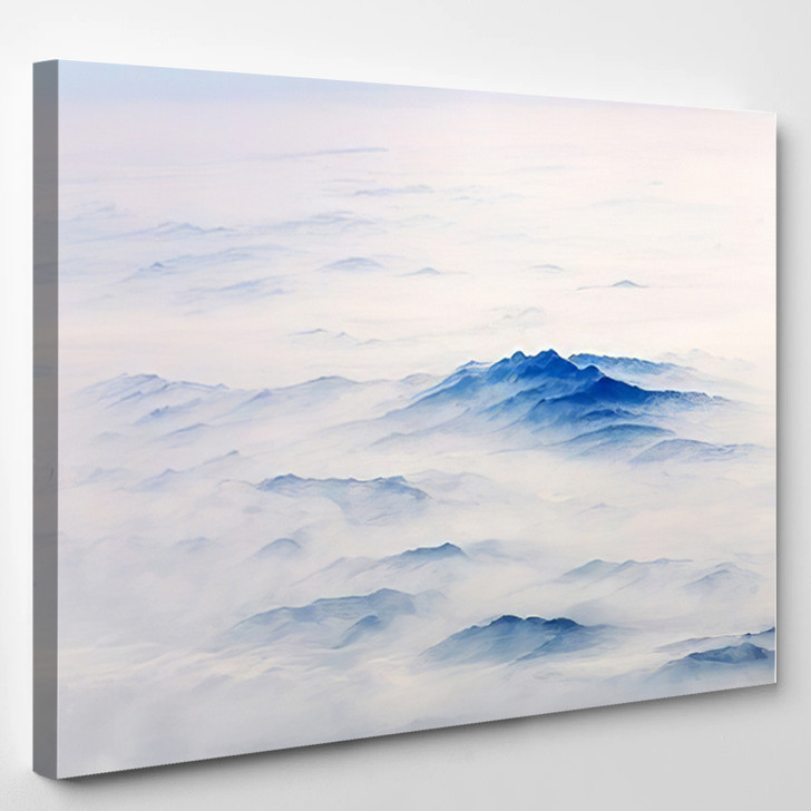 Aerial Landscape Mountain Lost Thick Fog - Airplane Airport Canvas Art Print