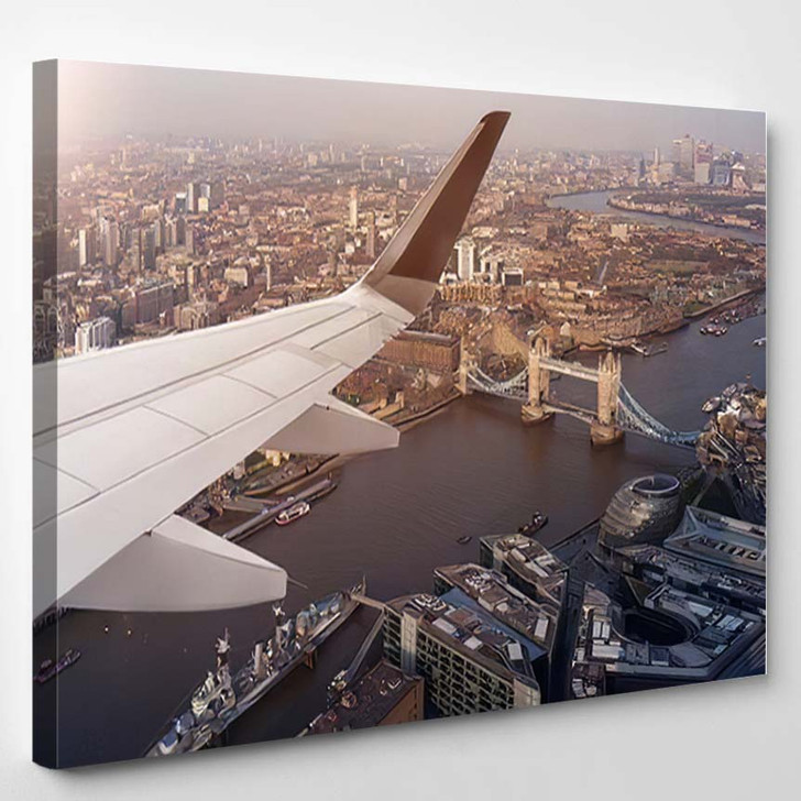 Aerial Panoramic Cityscape View London River 1 - Airplane Airport Canvas Art Print