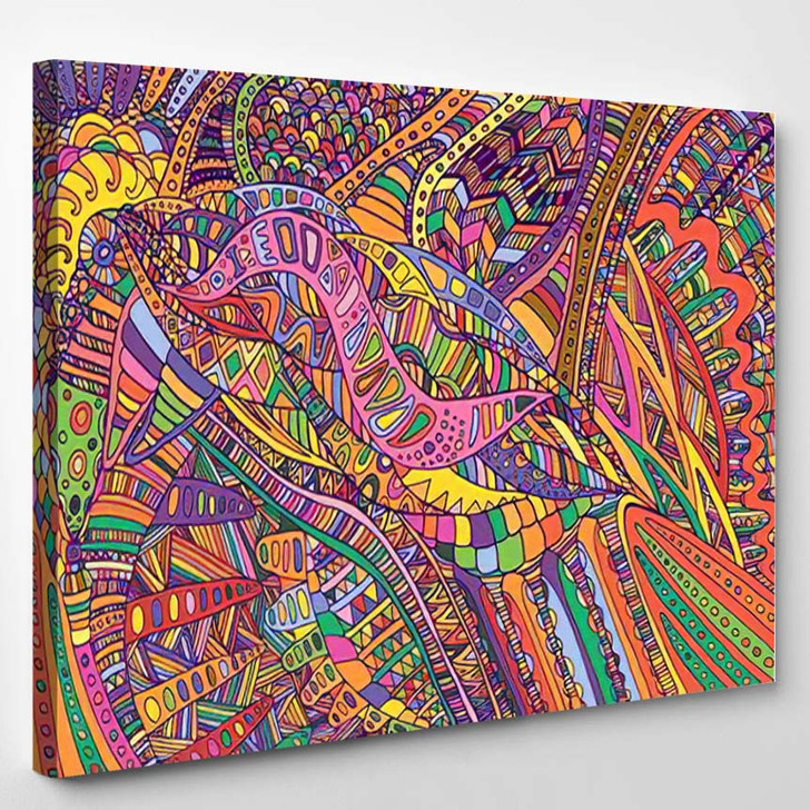 Psychedelic Colorful Surreal Doodle Pattern Rainbow - Psychedelic Canvas Art Print