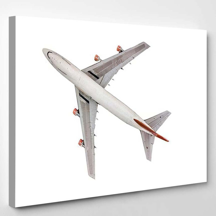 Aerial Top View Passenger Airplane On - Airplane Airport Canvas Art Print