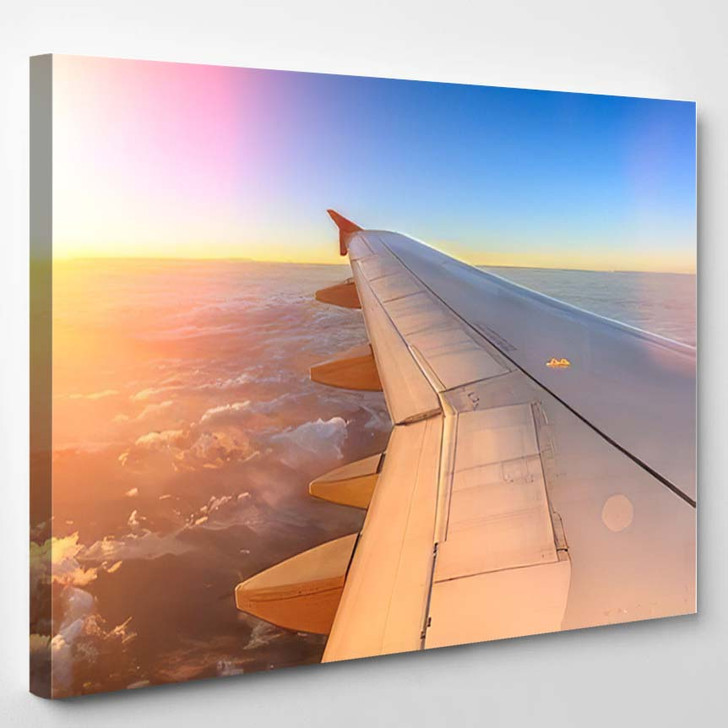 Aerial View Airplane Flying Above Shade 1 - Airplane Airport Canvas Art Print