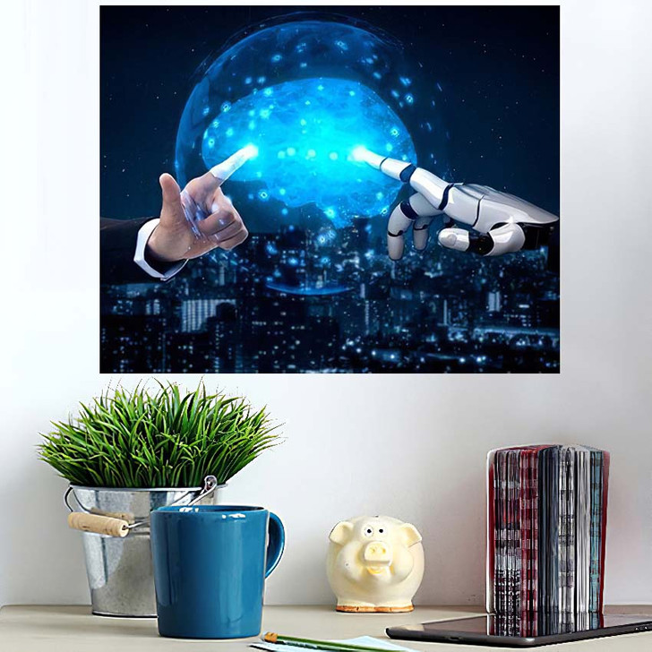 3D Rendering Artificial Intelligence Ai Research 41 - Creation of Adam Poster Art