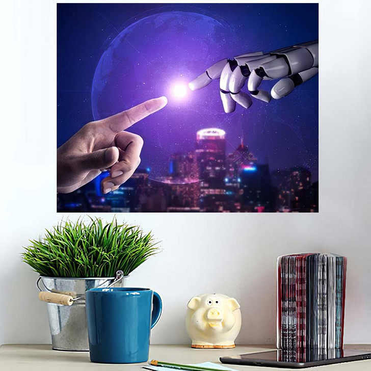 3D Rendering Artificial Intelligence Ai Research 44 - Creation of Adam Poster Art