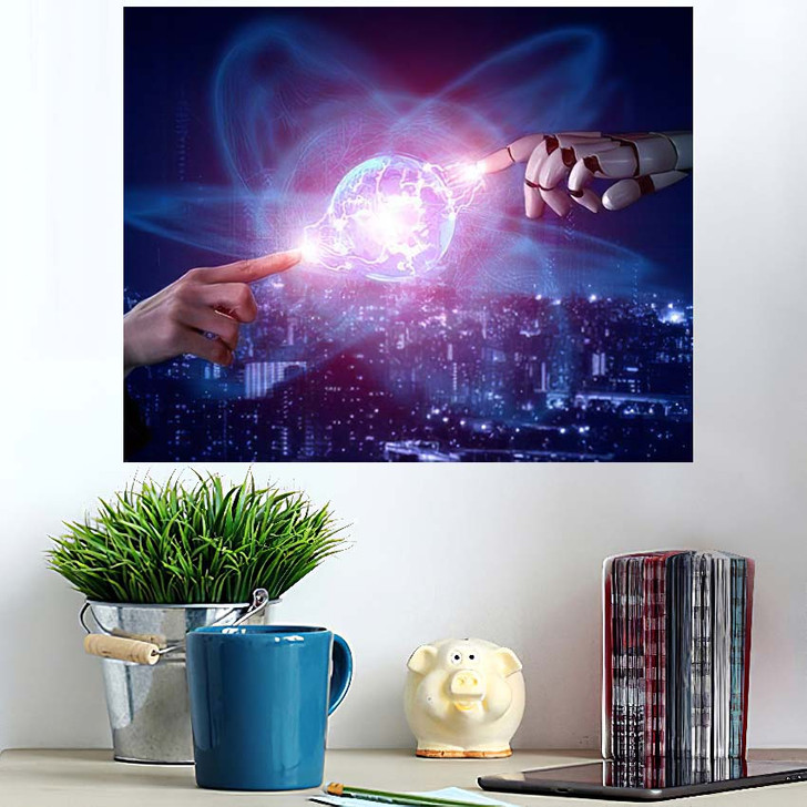 3D Rendering Artificial Intelligence Ai Research 46 - Creation of Adam Poster Art