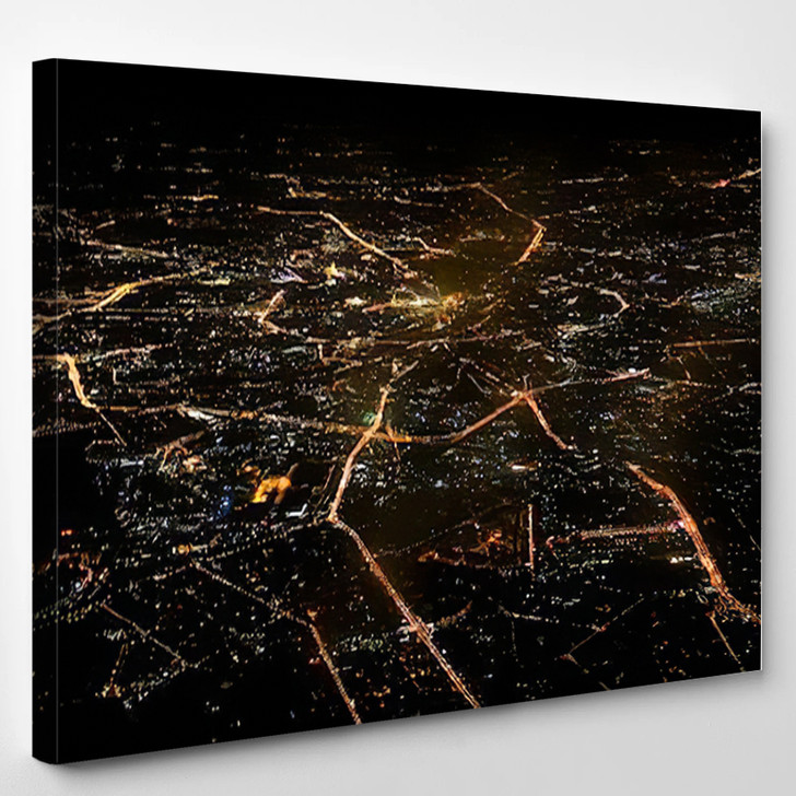 Aerial View Moscow Night - Airplane Airport Canvas Art Print