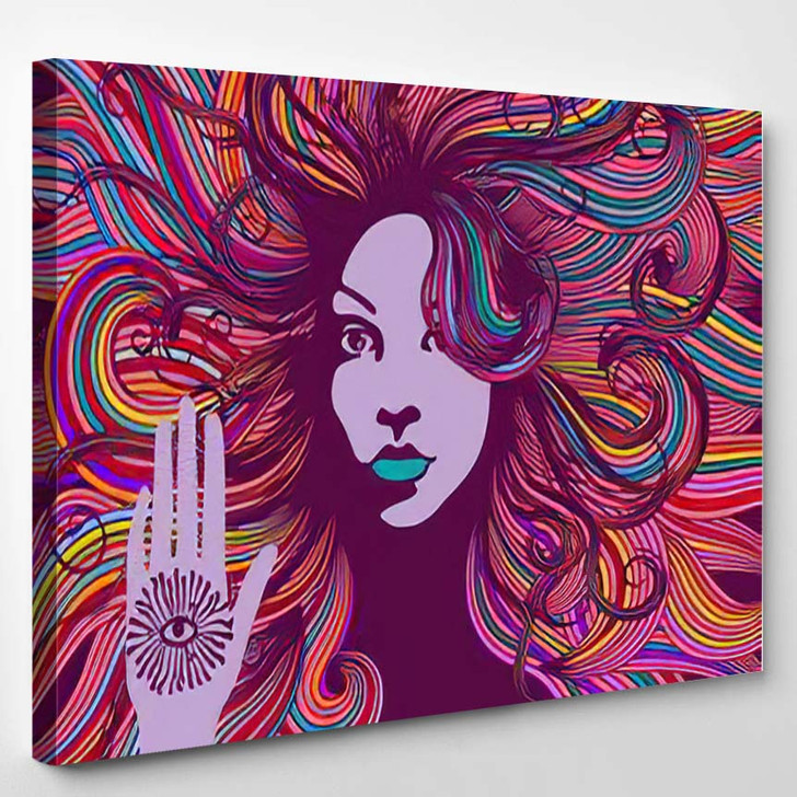 Psychedelic Portrait Hippie Woman Colorful Hair - Psychedelic Canvas Art Print