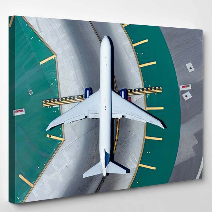 Aerial View Wide Body Aircraft Taxiway - Airplane Airport Canvas Art Print