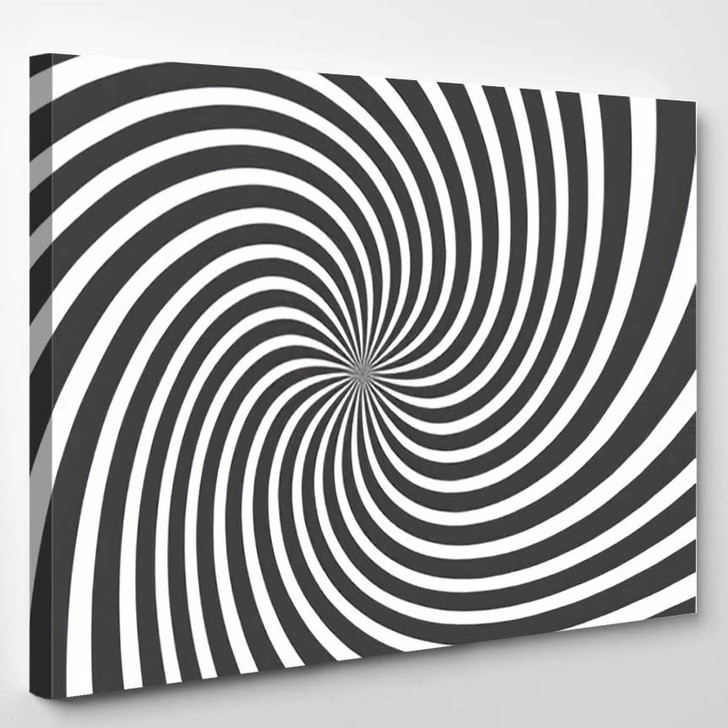 Psychedelic Spiral Radial Gray Rays Swirl - Psychedelic Canvas Art Print