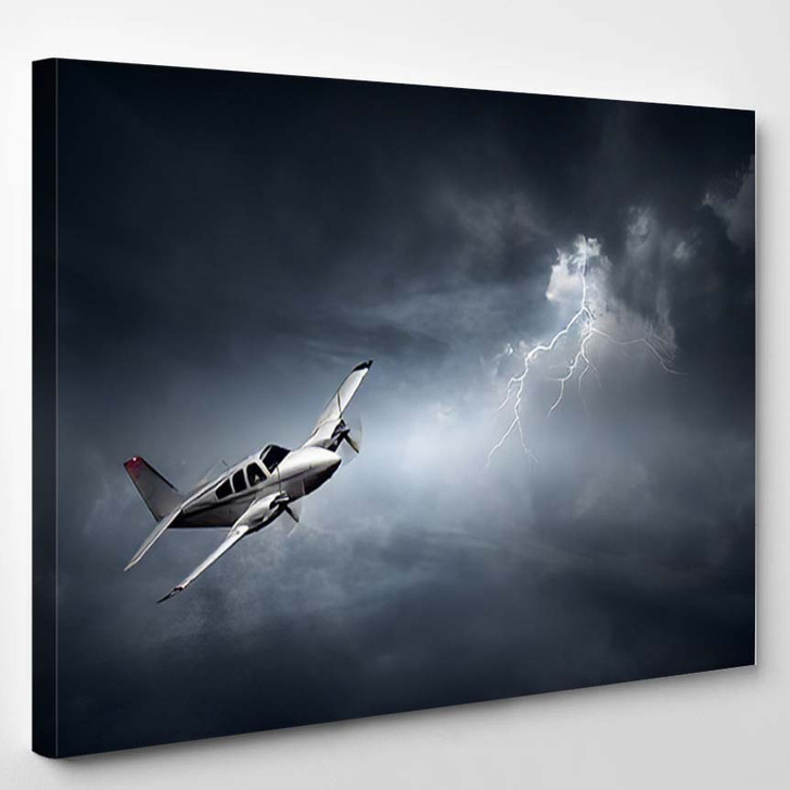 Aeroplane Flying Storm Lightning Concept Risk - Airplane Airport Canvas Art Print