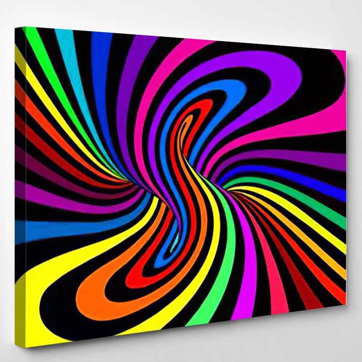 Psychedelic Vector Illustration Torus Inside View - Psychedelic Canvas Art Print