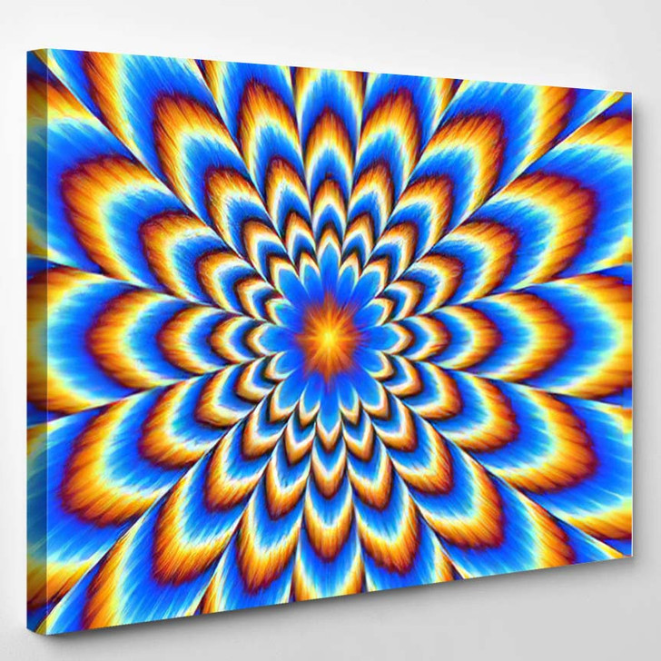 Pulsing Blue Flower Optical Illusion Movement - Psychedelic Canvas Art Print