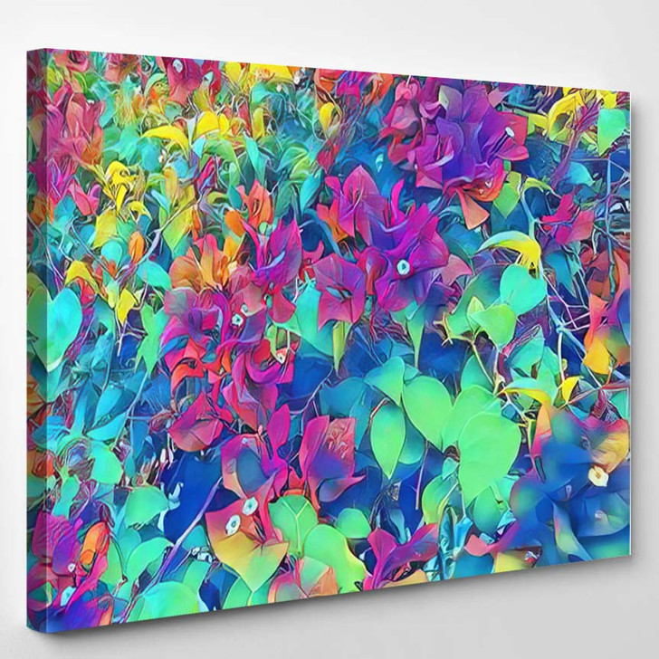 Rainbow Colored Tropical Flower Rose Flowers - Psychedelic Canvas Art Print