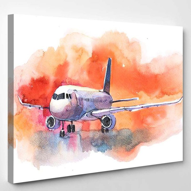 Aircraft Airplane Flying Cloudy Sky Passenger - Airplane Airport Canvas Art Print