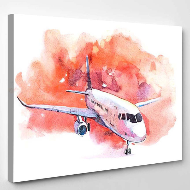 Aircraft Airport On Takeoff Field Watercolor - Airplane Airport Canvas Art Print