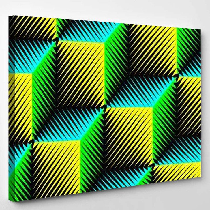 Seamless Cube Pattern Abstract Wrapping Background - Psychedelic Canvas Art Print