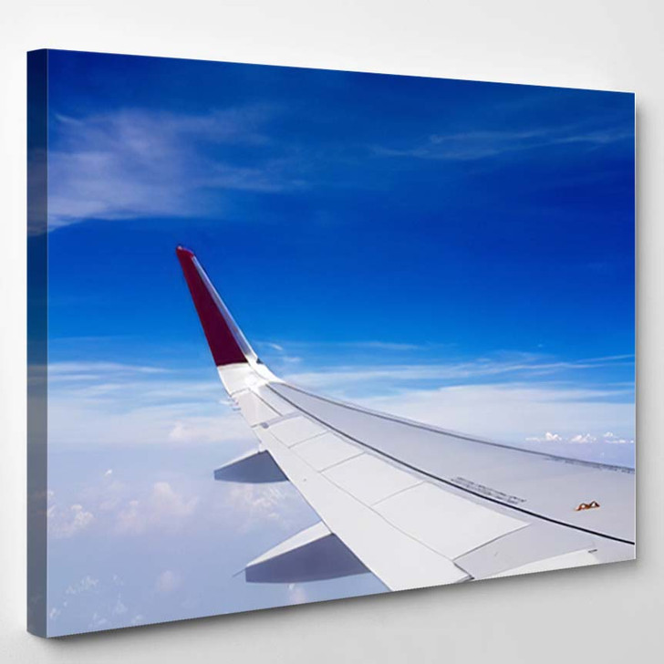 Aircraft Wing On Sky - Airplane Airport Canvas Art Print